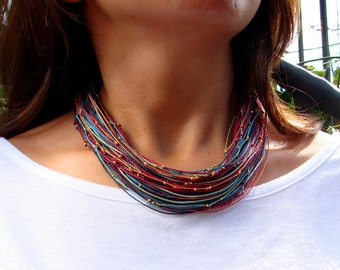 Red Turquoise Blue Multi Colored Statement Necklace - Strand Necklace - Cord Necklace - Thread Necklace - String Necklace – Bold Necklace