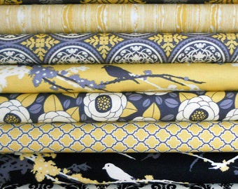 Joel Dewberry Half Yard Bundle - AVIARY 2 - Granite Palette - Free Spirit Fabric - 8 pcs