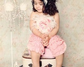 Pink Petti Romper/Pants Jumper with Feather Flower Hair Clip and Brooch Accessories
