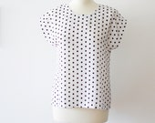 Polka dots blouse, black dots on white - Mokkafiveoclock