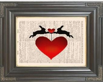 Rabbit Red Heart print on dictionary or music page Dictionary art print Wall decor Digital art print Wall art Home decor No. 537