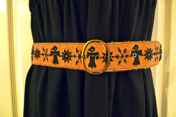 Thunderbird Cork Belt Vintage Thunderbird Belt Southwest Indian Black Bird Sun Fern Leaf Arrow native american 60's Hippie boho FREE US SHIP