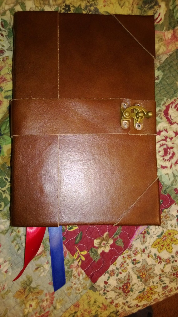 Postbound 6x9 LOCK Book of Shadows Distressed brown leather Journal Diary Spiritual writings