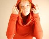 Mini Dress - Cowl Hoodie - Tunic - Batwing Sleeves - Pumpkin Orange Rust - Eco Friendly - Organic Clothing