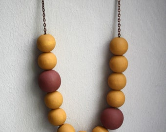 Ochre and Sienna Statement Necklace / Handpainted Wooden Beads / Neutral Earth Tones and Copper