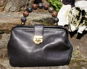 80's Giorgio Black Leather Satchel Purse
