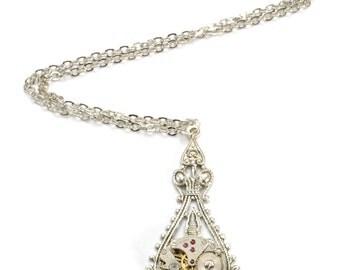 Steampunk Necklace Steampunk Vintage Watch Necklace Antique Silver Victorian Wedding Steam Punk Steampunk Jewelry by VictorianCuriosities