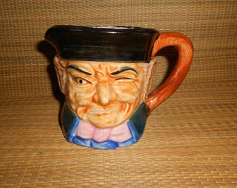 """Dickens Toby Pitcher/Jug Winking Man In Tricorn Hat Made By """"Wales China"""" (Japan) Antique Collectible Figural Mug."""