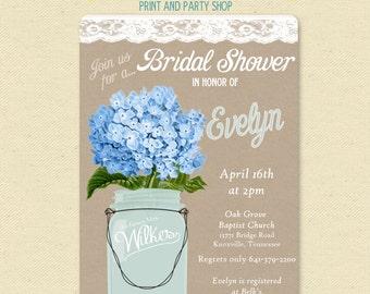 Lace Mason Jar Invitation -  Blue Hydrangeas - Bridal Shower Party Invite - Printable