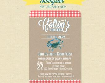 Crab Birthday Invitation - Crab Feast Boys Summer Invite - Red or Orange
