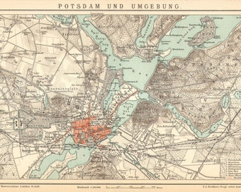1897 Original Antique Dated Map of Potsdam and its Surroundings