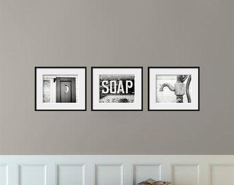Bathroom decor set of 3 photographs bathroom art set for Bathroom decor picture frames