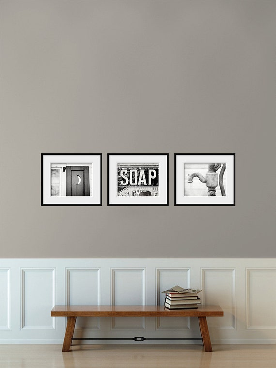 Bathroom decor set of 3 photographs bathroom by for Bathroom decor etsy
