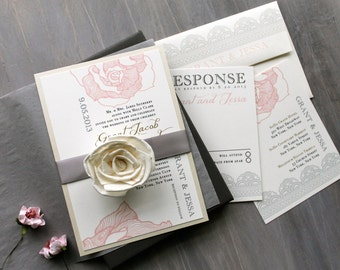 "Blush and Gray Elegant Boxed Wedding Invitations, Lace Boxed Wedding Invitation ""Ruffled Romance Box Invite"" Deposit - NEW LOWER PRICE!"