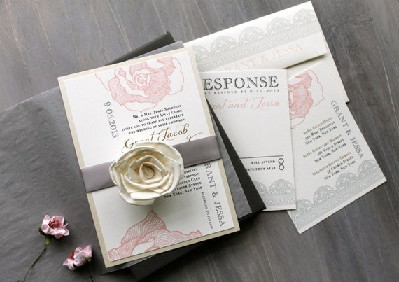 Ruffled Romance Boxed Wedding Invitations - elegant boxed wedding invitations with script inspired and colors of blush peach