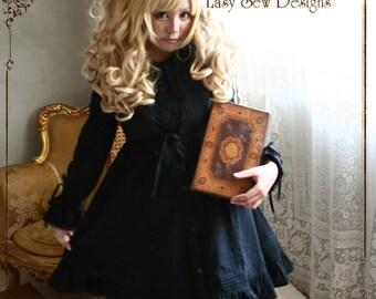 SALE 54.00 Gothic Noir Mourn Lolita BabyDoll Empire Waist Button Down Cotton Dress Black