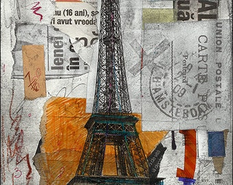 Fine Art  PRINT Poster canvas - Abstract Mixed media collage Gift Eiffel Tower Paris Autographed in Original Signed By Mirel  M. E.Ologeanu