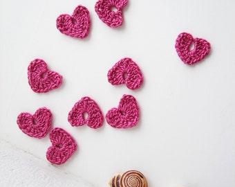 Crochet Heart Applique, Vintage Pink, Romantic & Sweet, Set of 10, Valentines Day Heart Love Motif