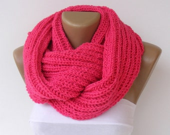Chunky Knitted Scarf Women Knit Infinity Scarf Men Chunky Cowl Scarf Winter Scarf Fashion Accessories Valentines Day Gifts senoaccessory