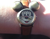 SALE Vintage LEATHER Mickey Mouse Watch Brass Face RARE
