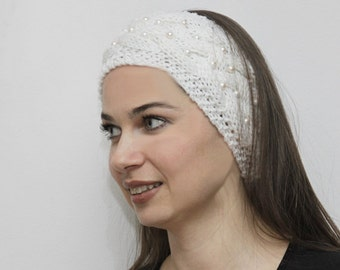 White Headband with sewn Pearls, Hand Knit Women Head Band, Ear Warmer, Headwarmer, Winter Fashion Luxury Touch Trend Head Band knitted gift