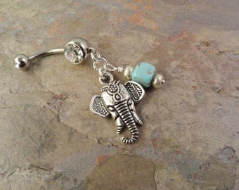 Indian Elephant Belly Button Rings with Turquoise Navel Jewlery