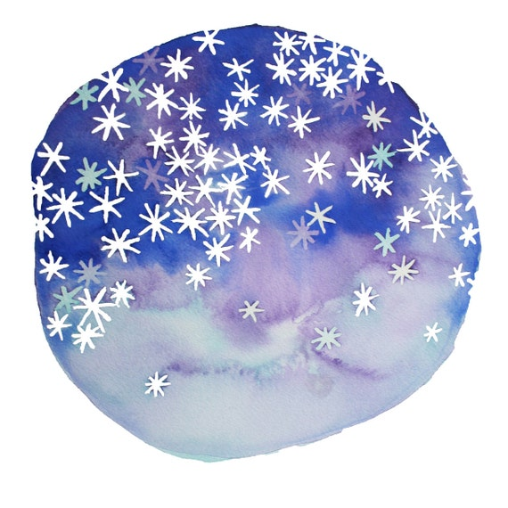 STARS in your EYES abstract watercolor art print in purple, blue and sky