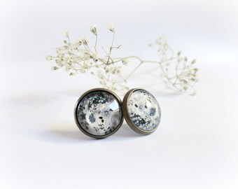 Floral moons  - post earrings white grey black flowers Choose your earwire Woddland jewelry Gift for her floral idea.
