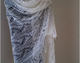 Hand knitted wedding shawl, Estonian lace stole, Haapsalu  shawl, heirloom, soft cobweb merino CUSTOM MADE