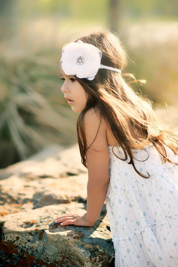 Flower girl headband Flower headband Baby headband Wedding headband Girls headband Bridal headband White flower headband Baptism headband