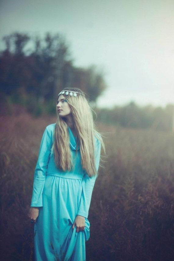 "Vintage 60s ""Altogether"" Bohemian Baby blue Maxi Dress.Size S/M"