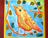 Original Art Hand Painted 8 x 8 Framed  Ceramic Tile  Bird on Branch