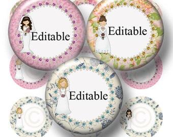 BRIDE, Editable Bottle Cap Images, Digital Collage Sheet, Instant Download, Wedding, 1 Inch Circles, (bb.1) Bridal Shower, Cupcake Topper