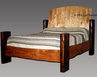 Bed, curly maple and mesquite
