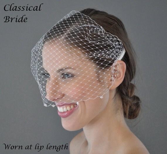 Bandeau BICONE SWAROVSKI CRYSTAL Edged Birdcage Blusher 9 Inch Veil In Ivory or White for bridal wedding accessory tiara