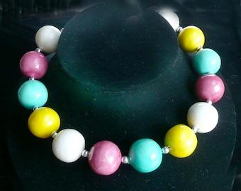 Big Beaded Necklace 70s Multicolor Retro Jewelry Vintage