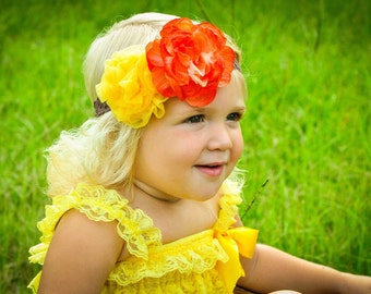 Baby Girl Headband Autumn Fall Orange Silk Flower Golden Yellow Chiffon Ruffle Blossom on Brown Lace Headband Over the Top Photo Prop