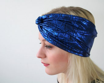 Metallic blue headband, reptile print turban twist headband, stretch headband