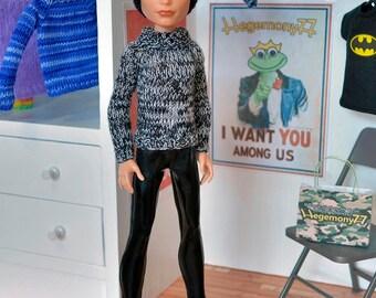 Hand knit doll sweater for: Pullip, Momoko, Monster High Boy...
