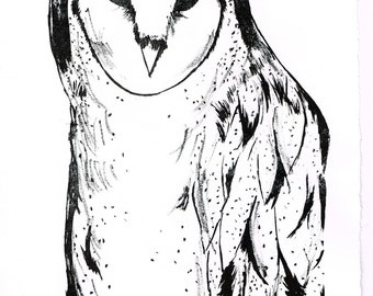 Original Hand-Pulled Lithograph - Barn Owl