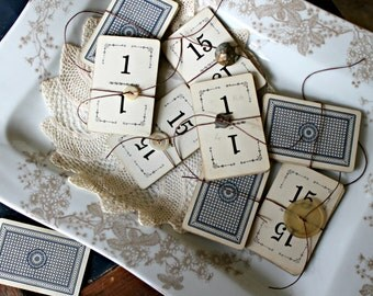 Antique Flinch Card Wedding Table Numbers