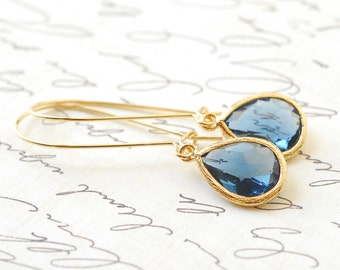 Blue Sapphire Birthstone Earrings Bridesmaid Gifts Bridal Jewelry Drop Earrings Dangle Earrings Birthstone Jewelry Accessories