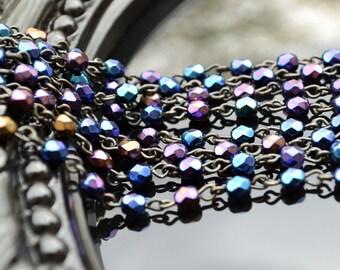 Rosary Chain - 4mm Iris Blue on Black Brass Links - Czech Bead Chain - 3 Feet