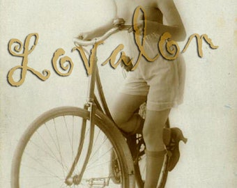 MATURE... My Bicycle... Instant Digital Download... 1920's Vintage Nude Photo... Digital Image by Lovalon