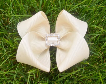 Ivory flower girl hair accessorie with bling sparkle-- 3.5 inch bows for baby shower gifts-- flower girls toddler