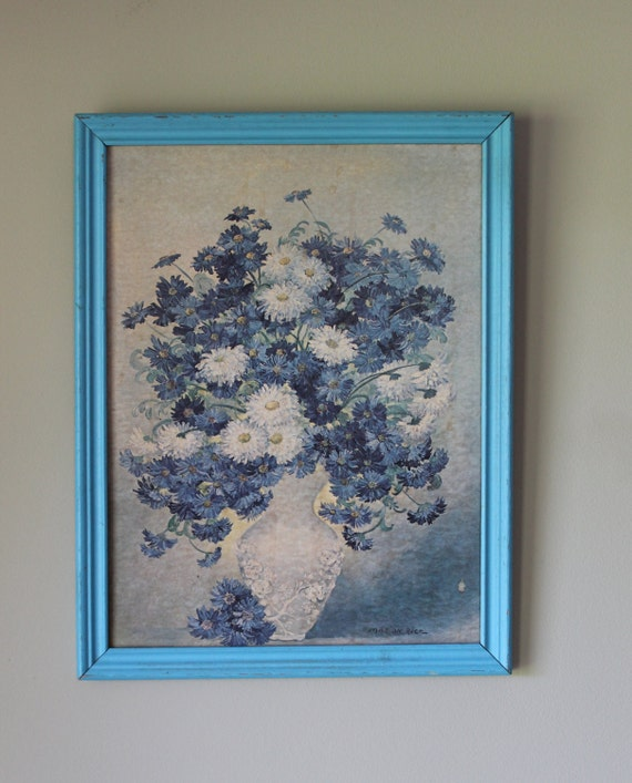 Blue floral art vintage artwork wall large blue flowers wood for Blue wall art