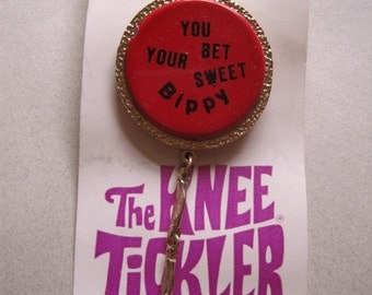 """Vintage 1960s """"You Bet Your Sweet Bippy"""" Mini Skirt Knee Tickler Original Card Old Stock vintage accessories Mod Laugh-In costume jewelry"""
