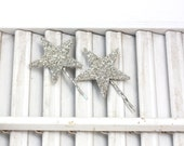 lucky star hair pin pair / silver german glass star bobby pin / two glitter hair pins / theLOVEstitch / ready to ship