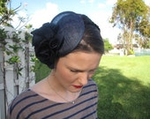 Navy Blue Silk Flower Sinamay Fascinator Hat with Veil and Black Beaded Trim Headband, for weddings, parties, cocktail, special occasions