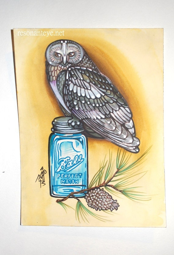 items similar to mason jar owl art tattoo painting brown owl perched on mason jar with pine. Black Bedroom Furniture Sets. Home Design Ideas